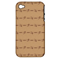 Brown Pattern Background Texture Apple Iphone 4/4s Hardshell Case (pc+silicone) by BangZart