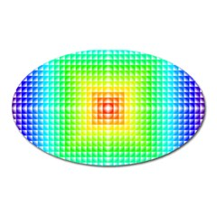 Square Rainbow Pattern Box Oval Magnet