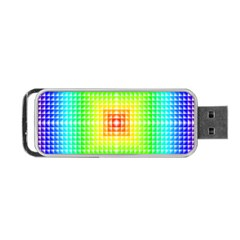 Square Rainbow Pattern Box Portable Usb Flash (two Sides)