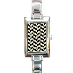 Chevron1 Black Marble & Beige Linen Rectangle Italian Charm Watch by trendistuff