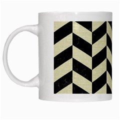 Chevron1 Black Marble & Beige Linen White Mugs by trendistuff