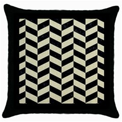 Chevron1 Black Marble & Beige Linen Throw Pillow Case (black) by trendistuff