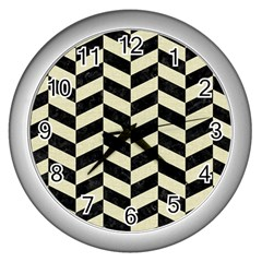 Chevron1 Black Marble & Beige Linen Wall Clocks (silver)  by trendistuff