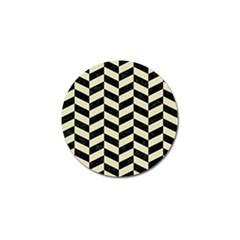 Chevron1 Black Marble & Beige Linen Golf Ball Marker by trendistuff