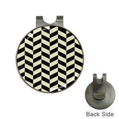 Chevron1 Black Marble & Beige Linen Hat Clips With Golf Markers by trendistuff