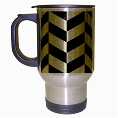 Chevron1 Black Marble & Beige Linen Travel Mug (silver Gray) by trendistuff