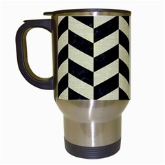 Chevron1 Black Marble & Beige Linen Travel Mugs (white) by trendistuff