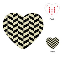 Chevron1 Black Marble & Beige Linen Playing Cards (heart)  by trendistuff