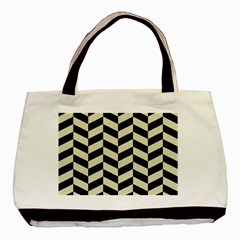 Chevron1 Black Marble & Beige Linen Basic Tote Bag (two Sides) by trendistuff