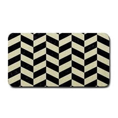 Chevron1 Black Marble & Beige Linen Medium Bar Mats by trendistuff