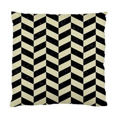 Chevron1 Black Marble & Beige Linen Standard Cushion Case (two Sides) by trendistuff