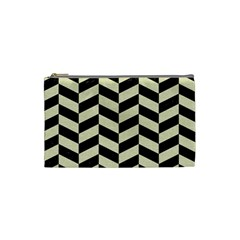 Chevron1 Black Marble & Beige Linen Cosmetic Bag (small)  by trendistuff