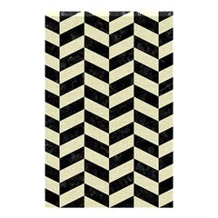 Chevron1 Black Marble & Beige Linen Shower Curtain 48  X 72  (small)  by trendistuff