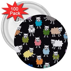 Sheep Cartoon Colorful Black Pink 3  Buttons (100 Pack)  by BangZart