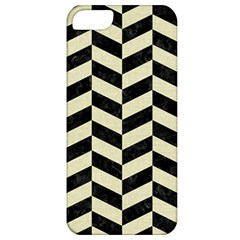 Chevron1 Black Marble & Beige Linen Apple Iphone 5 Classic Hardshell Case by trendistuff