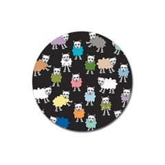 Sheep Cartoon Colorful Black Pink Magnet 3  (round) by BangZart