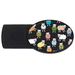 Sheep Cartoon Colorful Black Pink Usb Flash Drive Oval (2 Gb) by BangZart