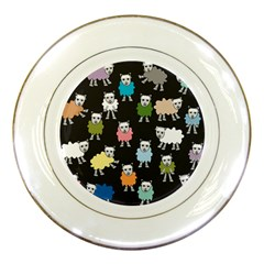 Sheep Cartoon Colorful Black Pink Porcelain Plates by BangZart