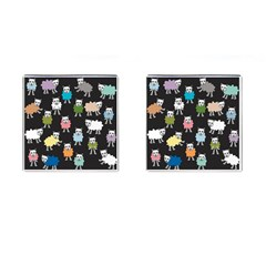 Sheep Cartoon Colorful Black Pink Cufflinks (square) by BangZart