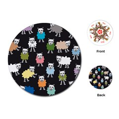 Sheep Cartoon Colorful Black Pink Playing Cards (round)  by BangZart