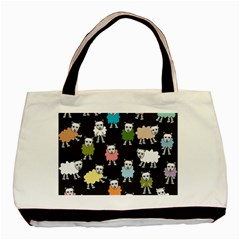 Sheep Cartoon Colorful Black Pink Basic Tote Bag by BangZart