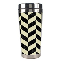 Chevron1 Black Marble & Beige Linen Stainless Steel Travel Tumblers