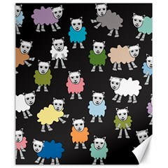 Sheep Cartoon Colorful Black Pink Canvas 20  X 24   by BangZart