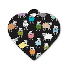 Sheep Cartoon Colorful Black Pink Dog Tag Heart (two Sides) by BangZart