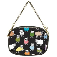 Sheep Cartoon Colorful Black Pink Chain Purses (one Side)  by BangZart