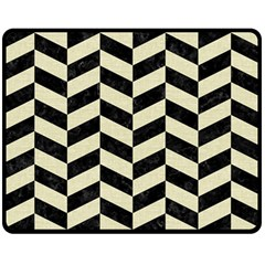 Chevron1 Black Marble & Beige Linen Double Sided Fleece Blanket (medium)  by trendistuff