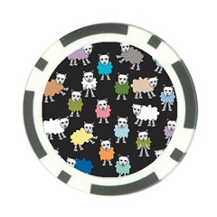 Sheep Cartoon Colorful Black Pink Poker Chip Card Guard (10 Pack) by BangZart