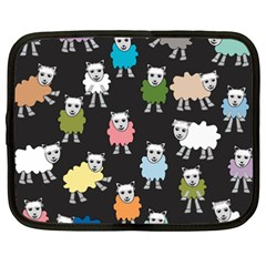 Sheep Cartoon Colorful Black Pink Netbook Case (xxl)