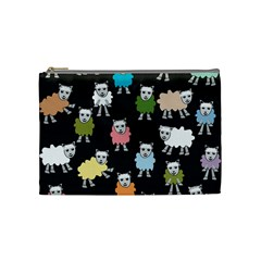 Sheep Cartoon Colorful Black Pink Cosmetic Bag (medium)  by BangZart