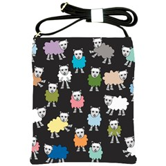 Sheep Cartoon Colorful Black Pink Shoulder Sling Bags by BangZart