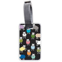 Sheep Cartoon Colorful Black Pink Luggage Tags (two Sides) by BangZart