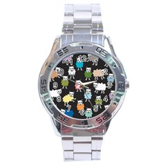 Sheep Cartoon Colorful Black Pink Stainless Steel Analogue Watch by BangZart