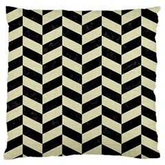 Chevron1 Black Marble & Beige Linen Large Flano Cushion Case (two Sides) by trendistuff
