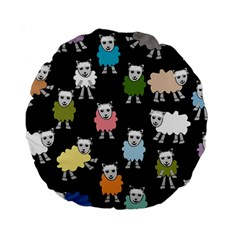 Sheep Cartoon Colorful Black Pink Standard 15  Premium Round Cushions by BangZart