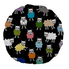 Sheep Cartoon Colorful Black Pink Large 18  Premium Round Cushions by BangZart