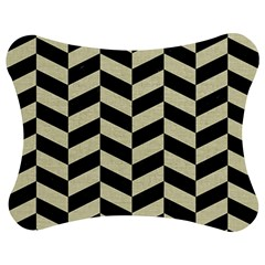 Chevron1 Black Marble & Beige Linen Jigsaw Puzzle Photo Stand (bow) by trendistuff