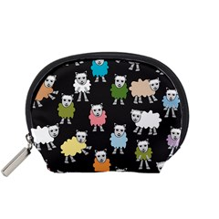 Sheep Cartoon Colorful Black Pink Accessory Pouches (small)  by BangZart