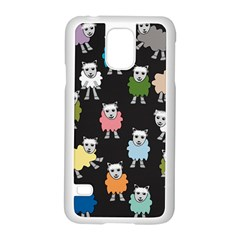 Sheep Cartoon Colorful Black Pink Samsung Galaxy S5 Case (white)