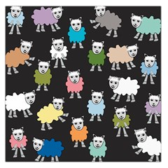 Sheep Cartoon Colorful Black Pink Large Satin Scarf (square) by BangZart
