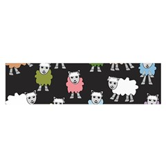 Sheep Cartoon Colorful Black Pink Satin Scarf (oblong)