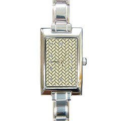 Brick2 Black Marble & Beige Linen (r) Rectangle Italian Charm Watch by trendistuff
