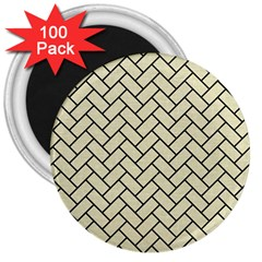 Brick2 Black Marble & Beige Linen (r) 3  Magnets (100 Pack) by trendistuff