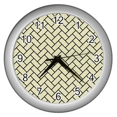Brick2 Black Marble & Beige Linen (r) Wall Clocks (silver)  by trendistuff