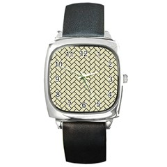 Brick2 Black Marble & Beige Linen (r) Square Metal Watch by trendistuff