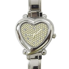 Brick2 Black Marble & Beige Linen (r) Heart Italian Charm Watch by trendistuff
