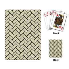Brick2 Black Marble & Beige Linen (r) Playing Card by trendistuff
